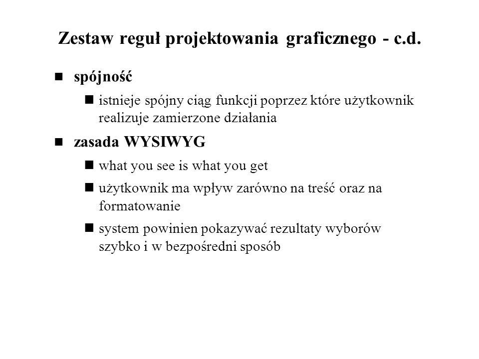 Zestaw reguł projektowania graficznego - c.d.