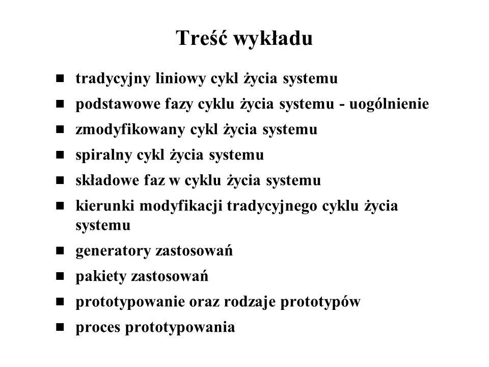 Treść wykładu tradycyjny liniowy cykl życia systemu