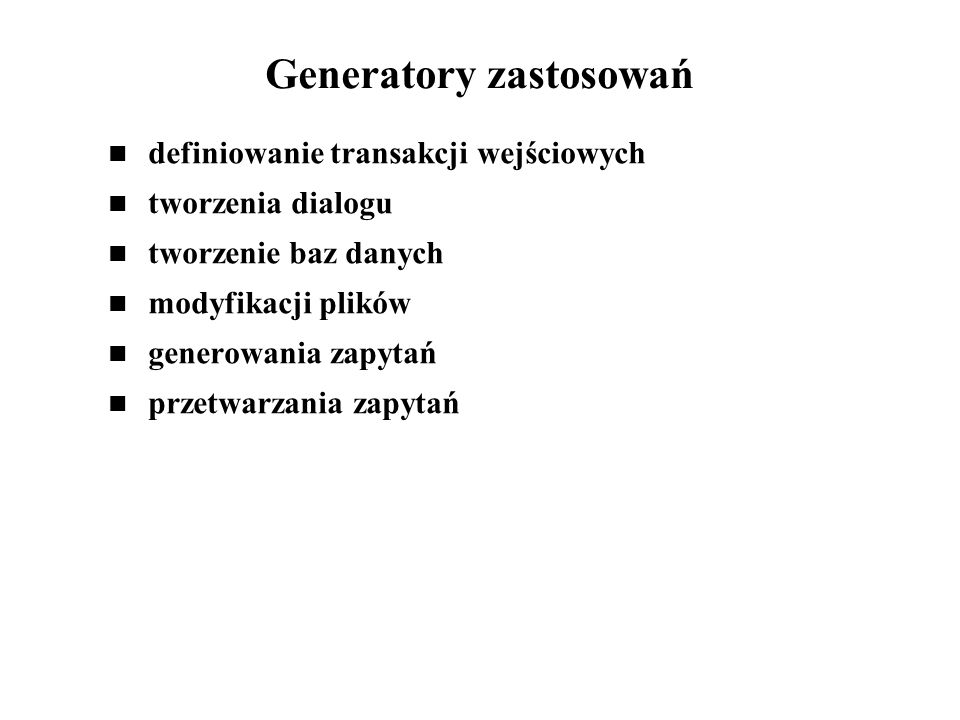Generatory zastosowań