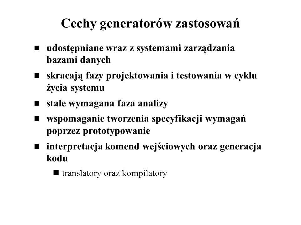 Cechy generatorów zastosowań