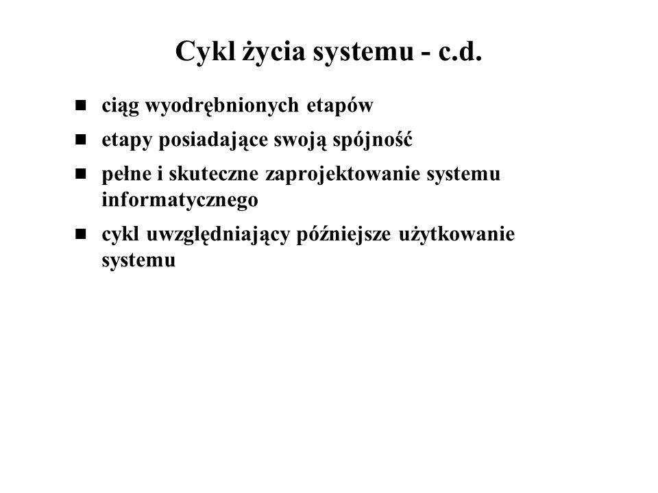 Cykl życia systemu - c.d. ciąg wyodrębnionych etapów
