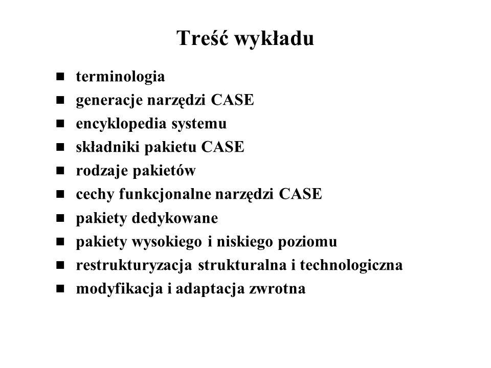 Treść wykładu terminologia generacje narzędzi CASE
