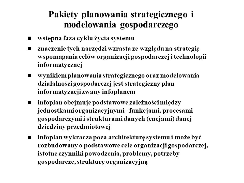 Pakiety planowania strategicznego i modelowania gospodarczego
