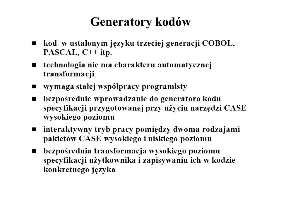 Generatory kodów kod w ustalonym języku trzeciej generacji COBOL, PASCAL, C++ itp. technologia nie ma charakteru automatycznej transformacji.