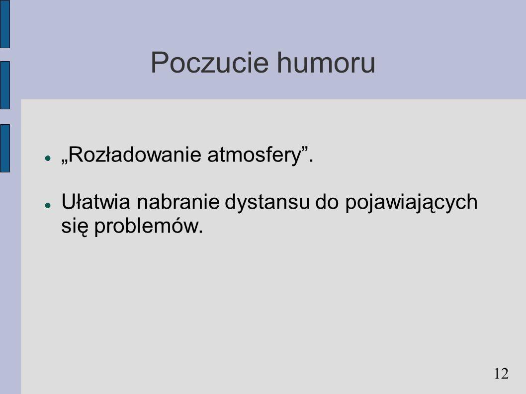 """Poczucie humoru """"Rozładowanie atmosfery ."""