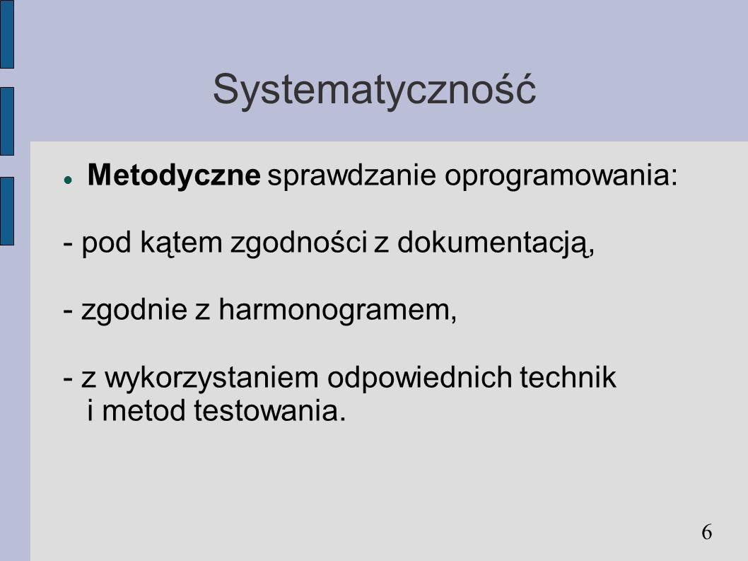 Systematyczność Metodyczne sprawdzanie oprogramowania: