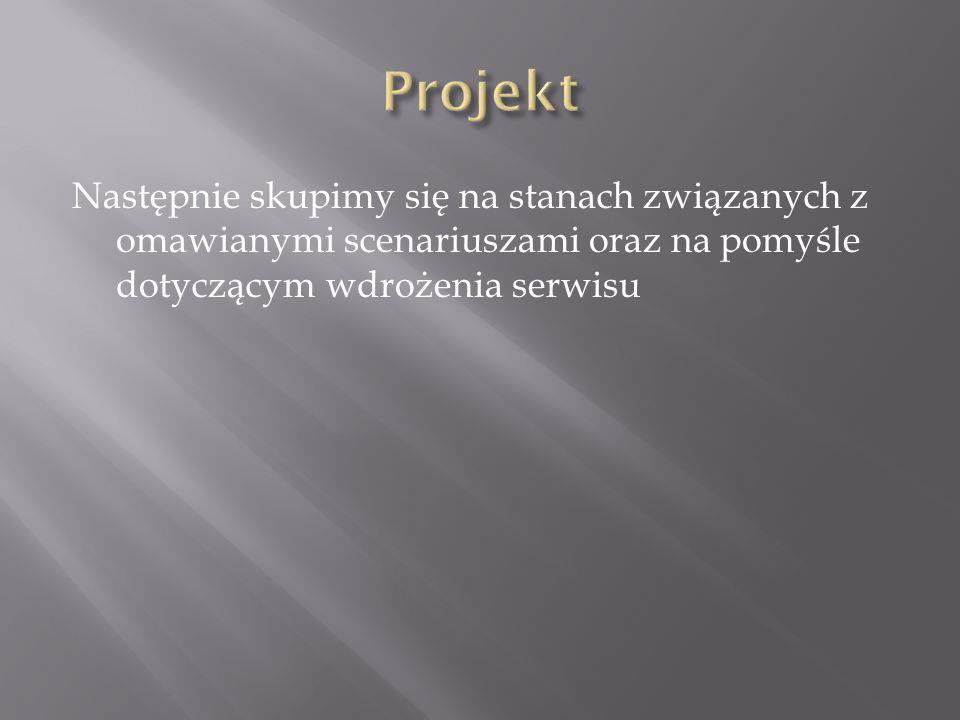 Projekt Następnie skupimy się na stanach związanych z omawianymi scenariuszami oraz na pomyśle dotyczącym wdrożenia serwisu.