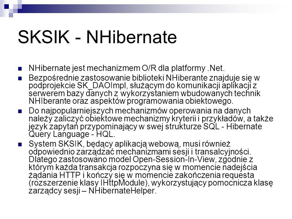 SKSIK - NHibernate NHibernate jest mechanizmem O/R dla platformy .Net.