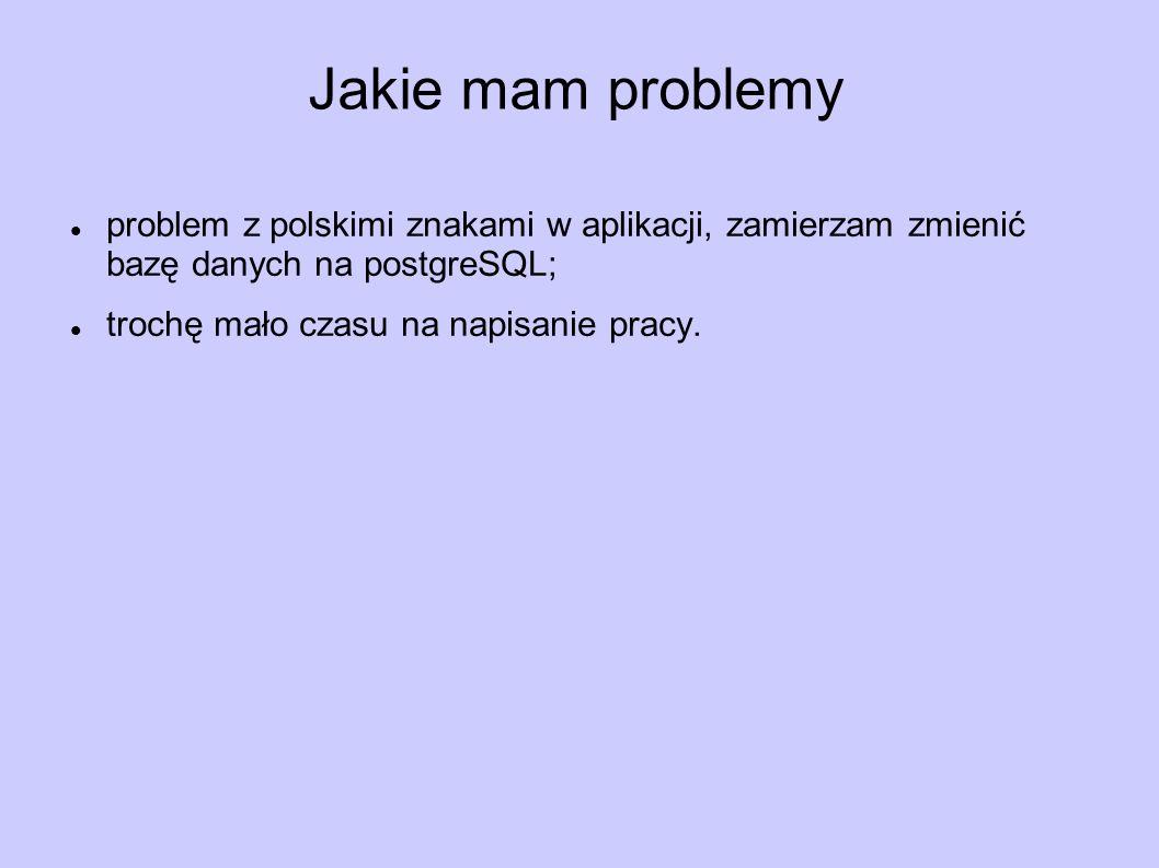 Jakie mam problemy problem z polskimi znakami w aplikacji, zamierzam zmienić bazę danych na postgreSQL;