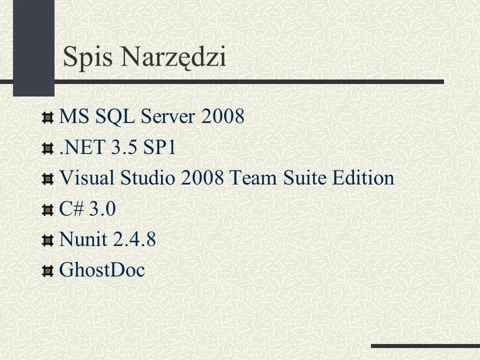 Spis Narzędzi MS SQL Server 2008 .NET 3.5 SP1