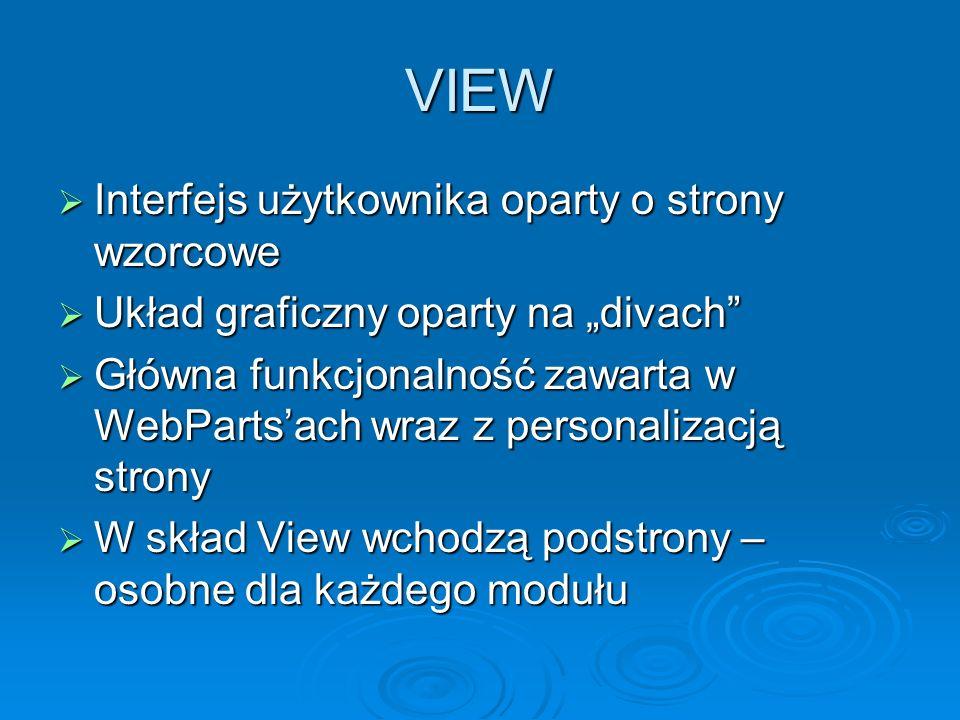 VIEW Interfejs użytkownika oparty o strony wzorcowe