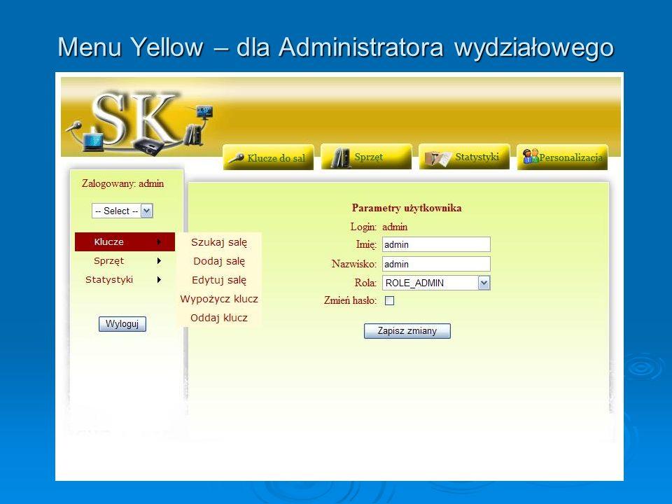 Menu Yellow – dla Administratora wydziałowego