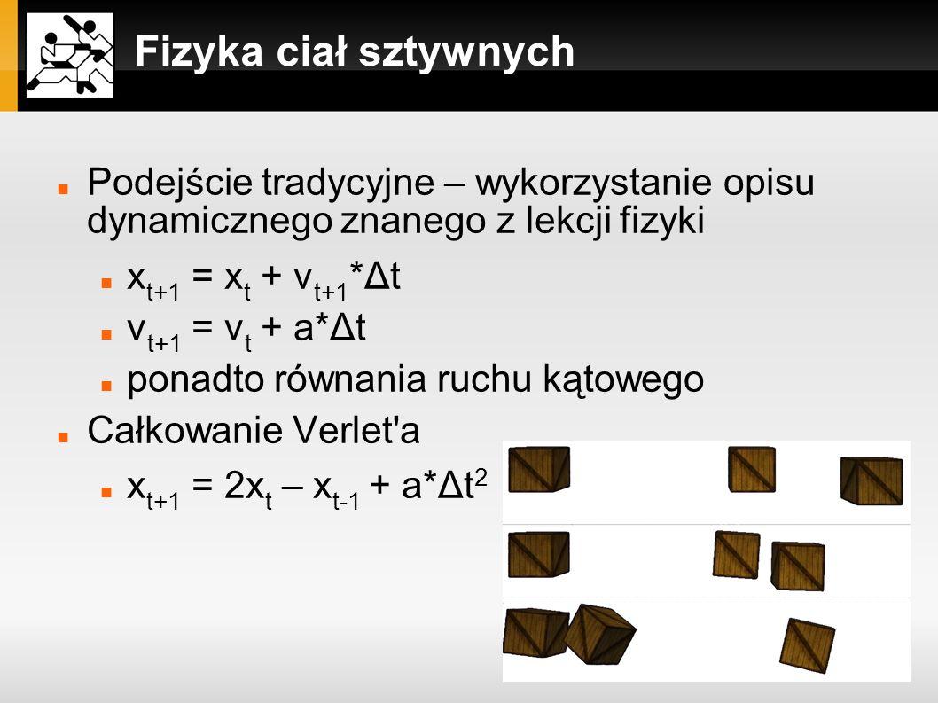 Fizyka ciał sztywnych Podejście tradycyjne – wykorzystanie opisu dynamicznego znanego z lekcji fizyki.