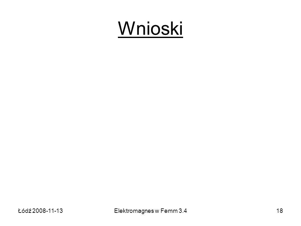 Wnioski Łódź 2008-11-13 Elektromagnes w Femm 3.4