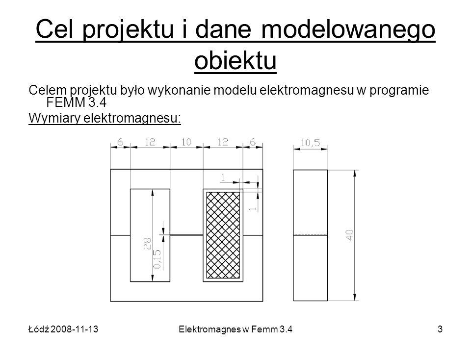 Cel projektu i dane modelowanego obiektu