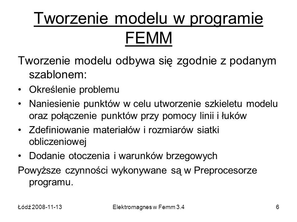 Tworzenie modelu w programie FEMM