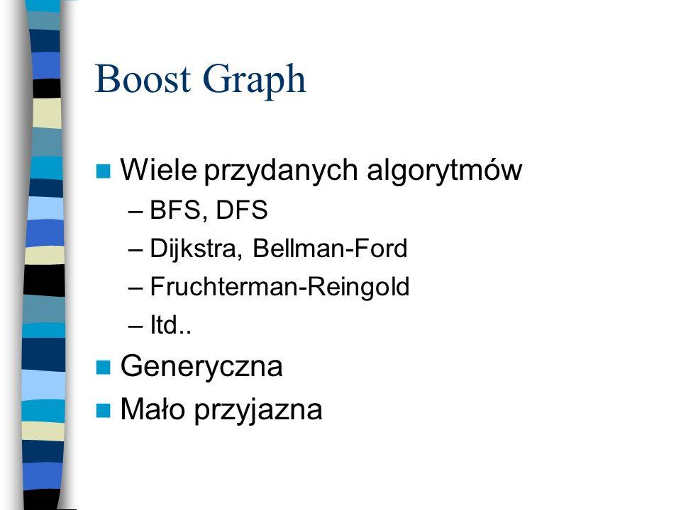 Boost Graph Wiele przydanych algorytmów Generyczna Mało przyjazna