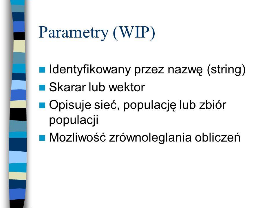Parametry (WIP) Identyfikowany przez nazwę (string) Skarar lub wektor