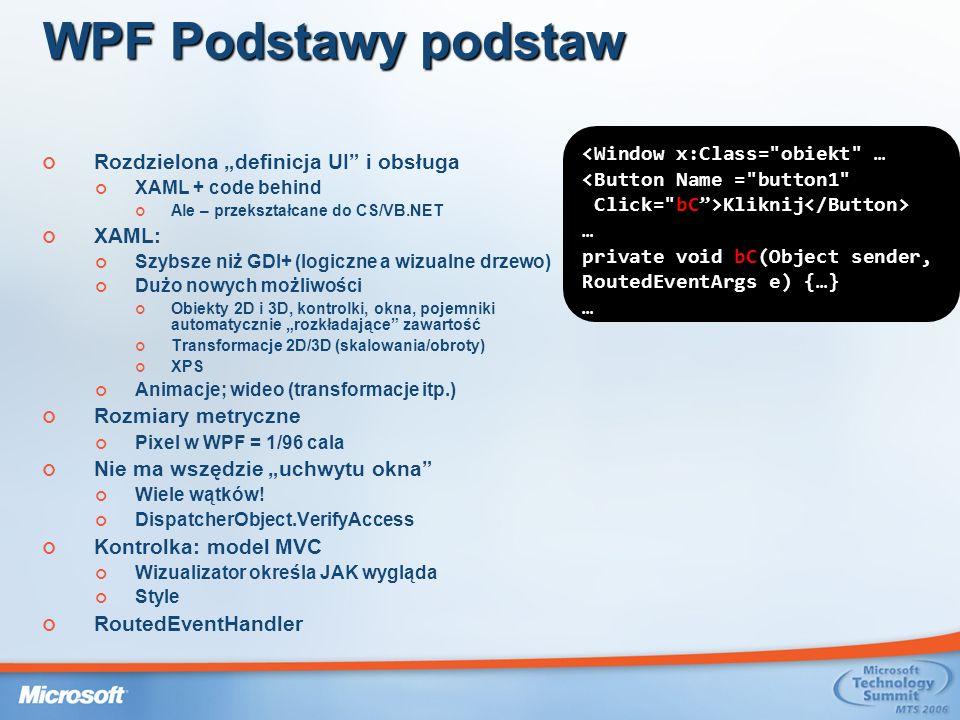 WPF Podstawy podstaw <Window x:Class= obiekt …