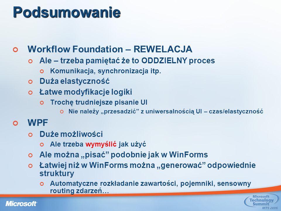 Podsumowanie Workflow Foundation – REWELACJA WPF