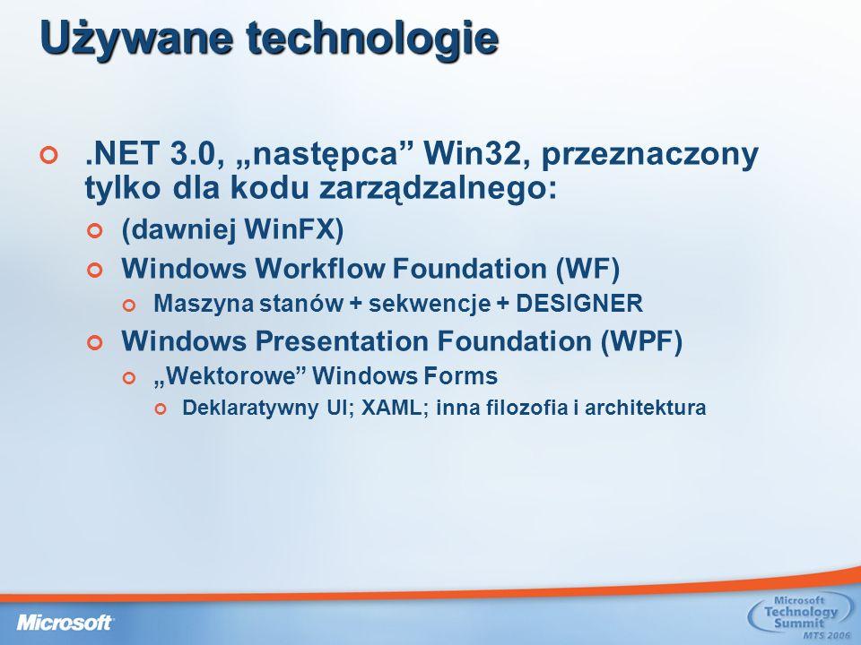 """Używane technologie .NET 3.0, """"następca Win32, przeznaczony tylko dla kodu zarządzalnego: (dawniej WinFX)"""