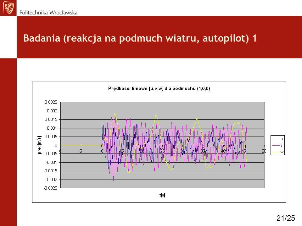Badania (reakcja na podmuch wiatru, autopilot) 1