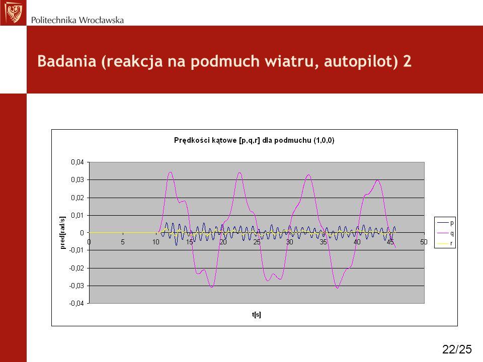 Badania (reakcja na podmuch wiatru, autopilot) 2