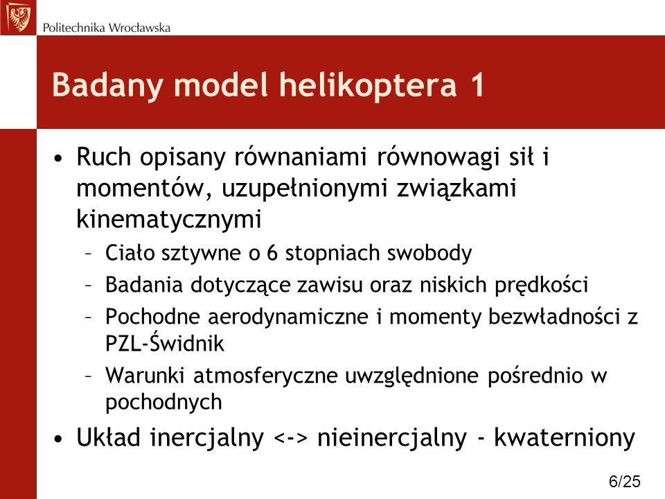 Badany model helikoptera 1