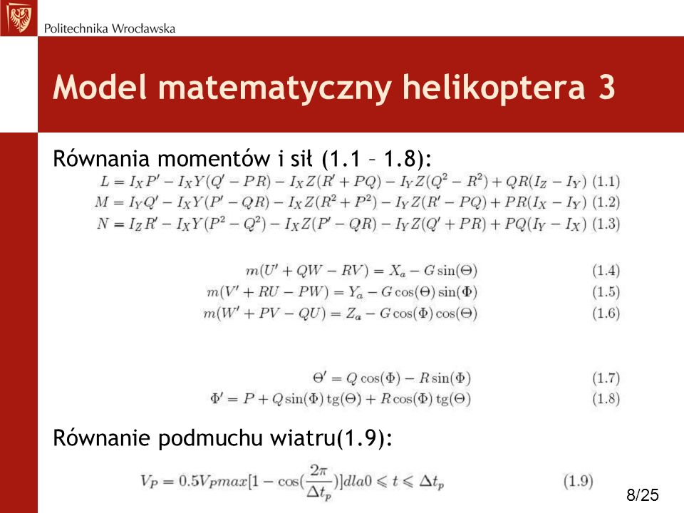 Model matematyczny helikoptera 3