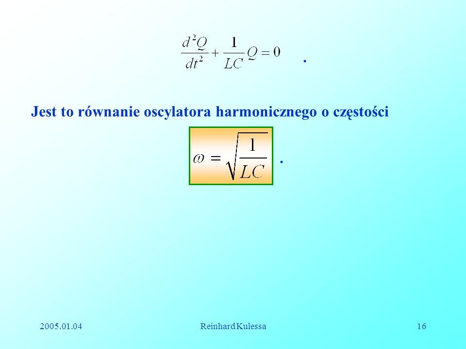 Jest to równanie oscylatora harmonicznego o częstości