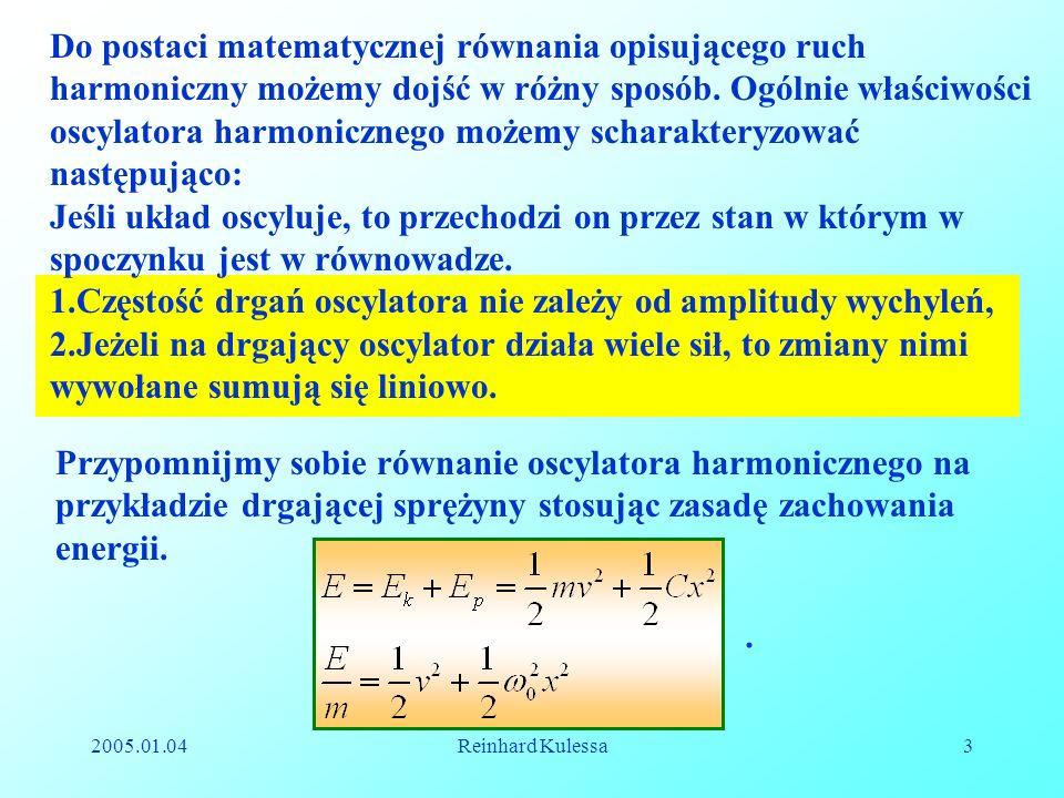Częstość drgań oscylatora nie zależy od amplitudy wychyleń,