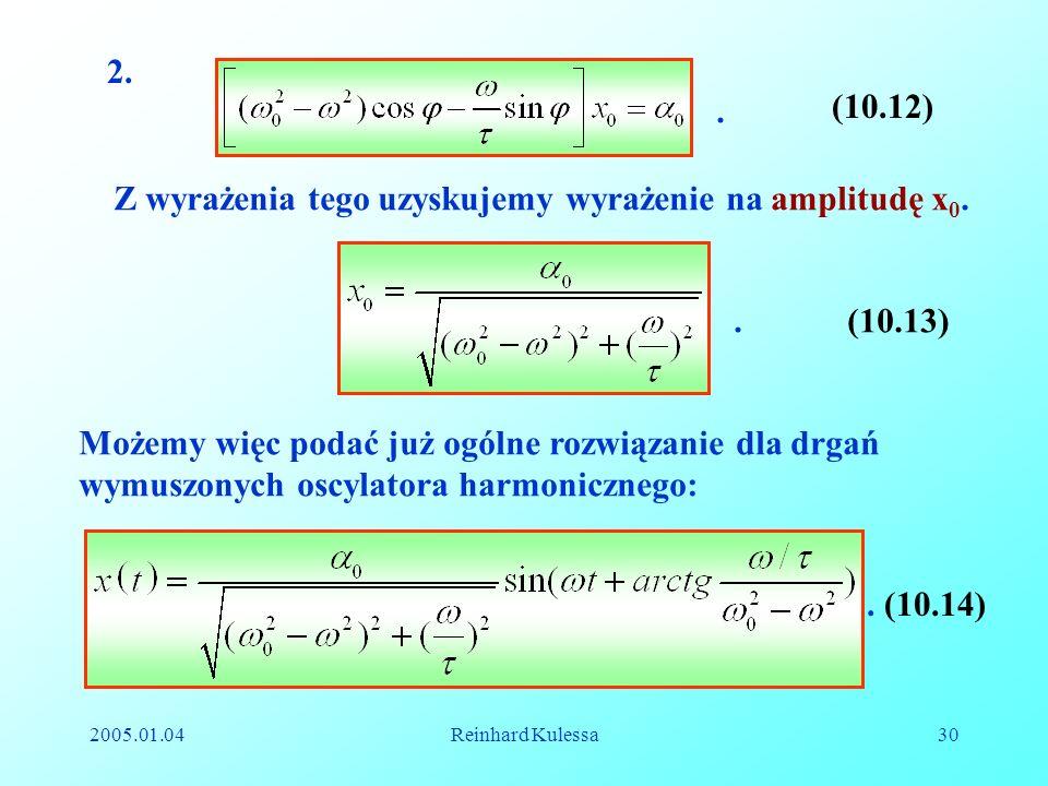 Z wyrażenia tego uzyskujemy wyrażenie na amplitudę x0.