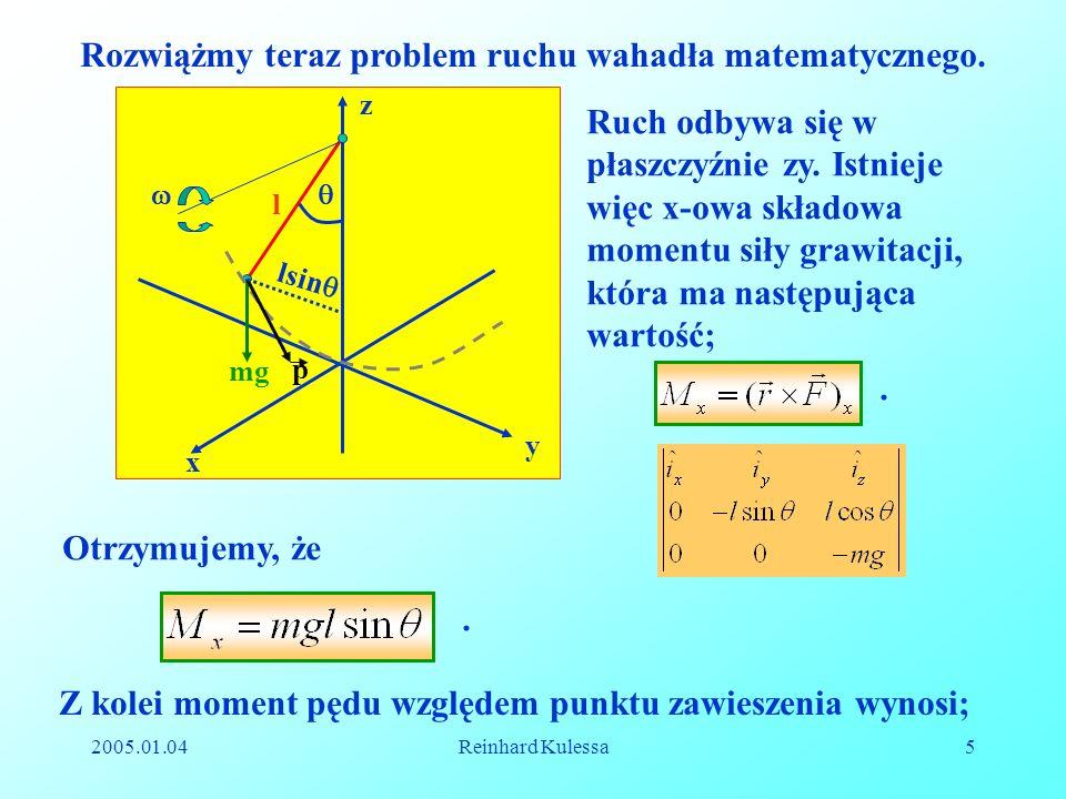 Rozwiążmy teraz problem ruchu wahadła matematycznego.