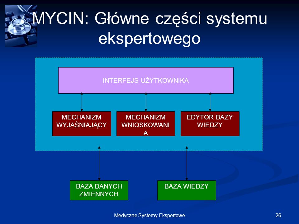 MYCIN: Główne części systemu ekspertowego