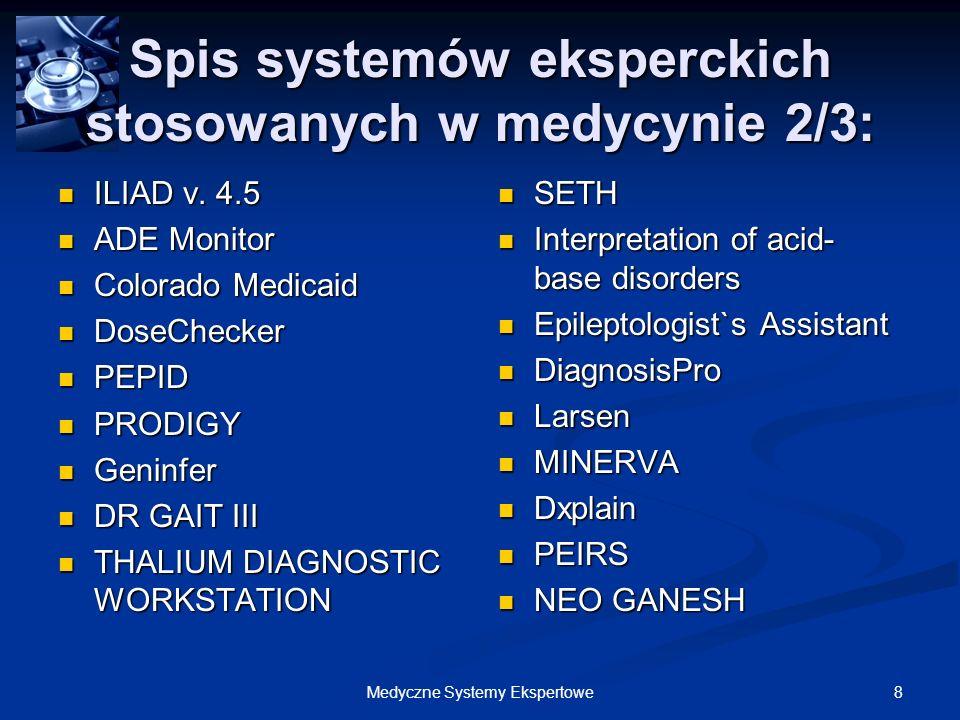 Spis systemów eksperckich stosowanych w medycynie 2/3: