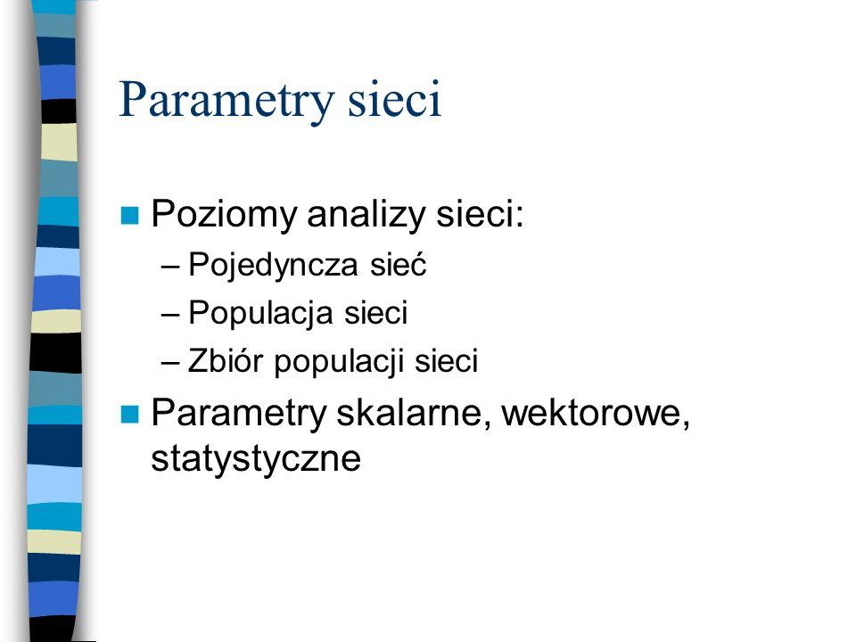 Parametry sieci Poziomy analizy sieci: