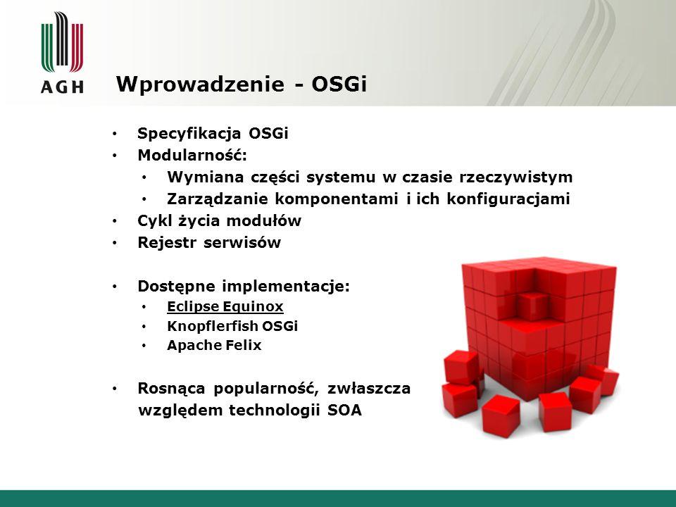 Wprowadzenie - OSGi Specyfikacja OSGi Modularność: