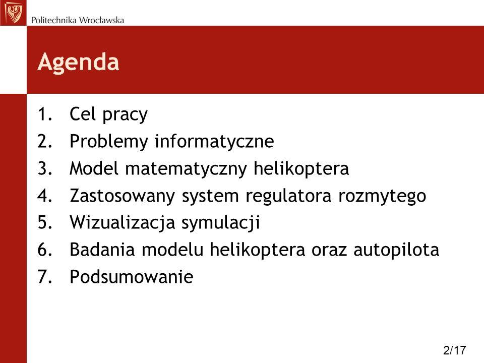 Agenda Cel pracy Problemy informatyczne Model matematyczny helikoptera