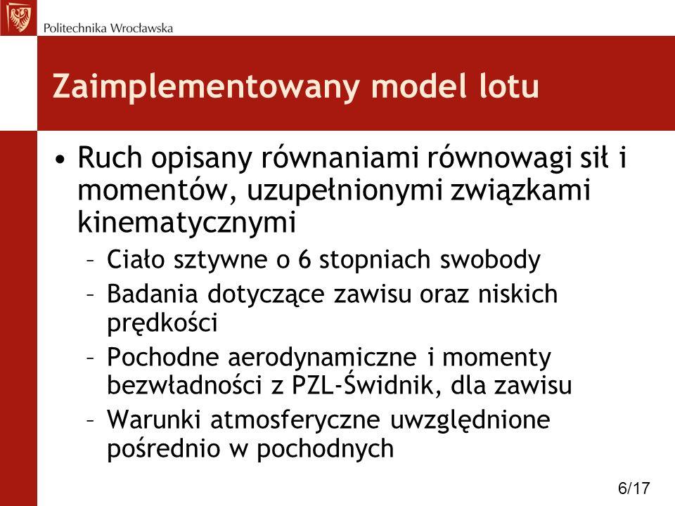 Zaimplementowany model lotu