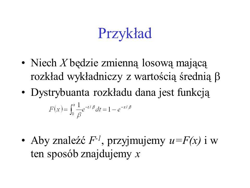 Przykład Niech X będzie zmienną losową mającą rozkład wykładniczy z wartością średnią  Dystrybuanta rozkładu dana jest funkcją.