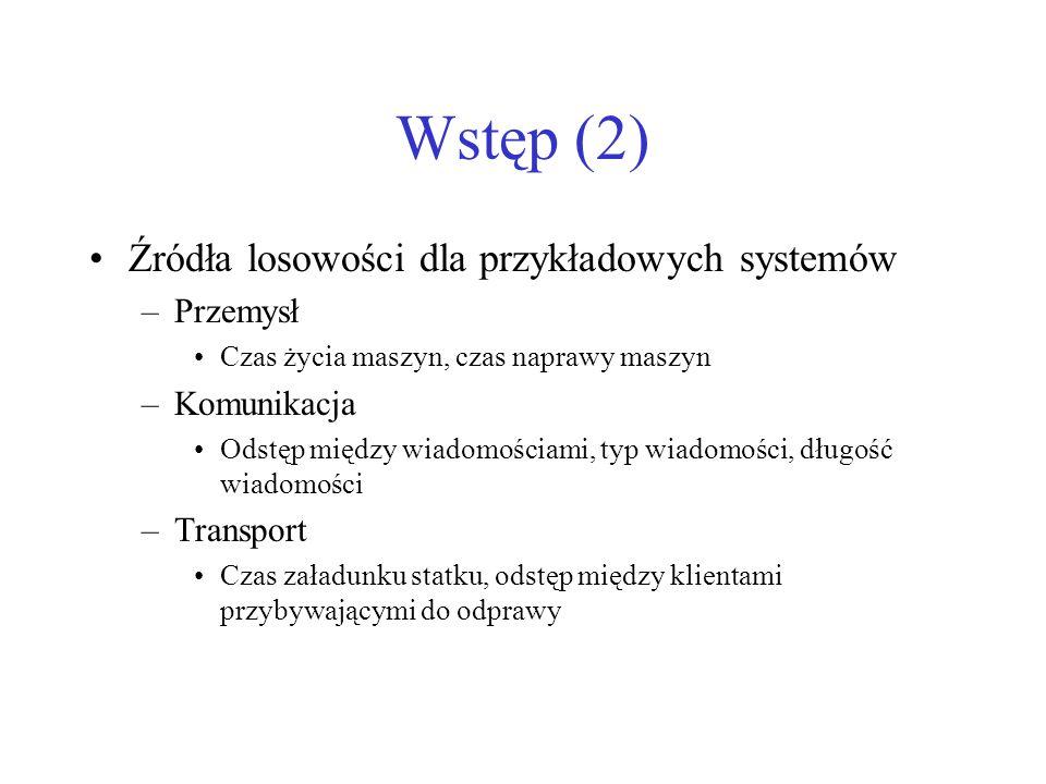 Wstęp (2) Źródła losowości dla przykładowych systemów Przemysł