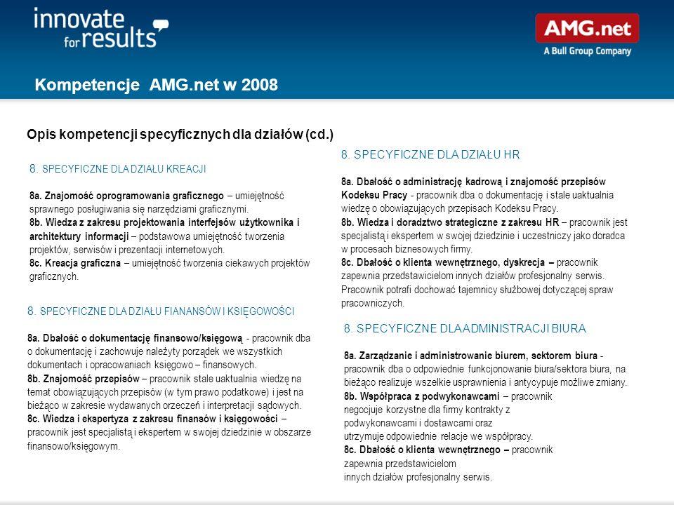 Kompetencje AMG.net w 2008 Opis kompetencji specyficznych dla działów (cd.) 8. SPECYFICZNE DLA DZIAŁU HR.