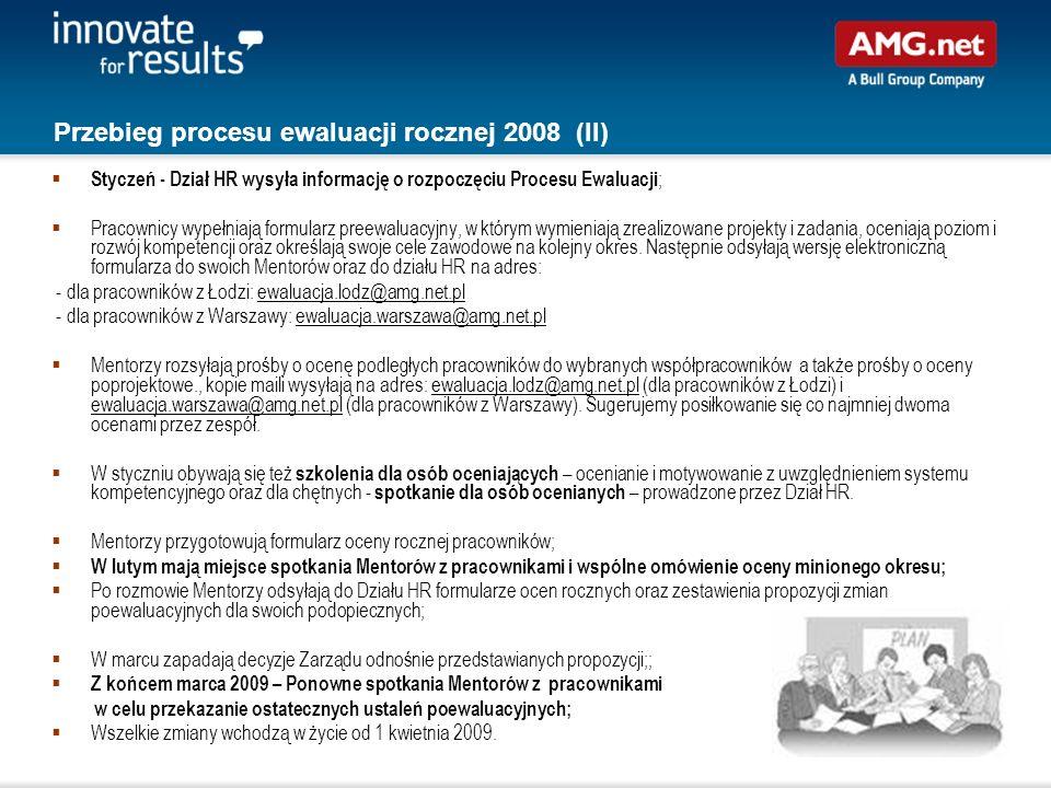 Przebieg procesu ewaluacji rocznej 2008 (II)