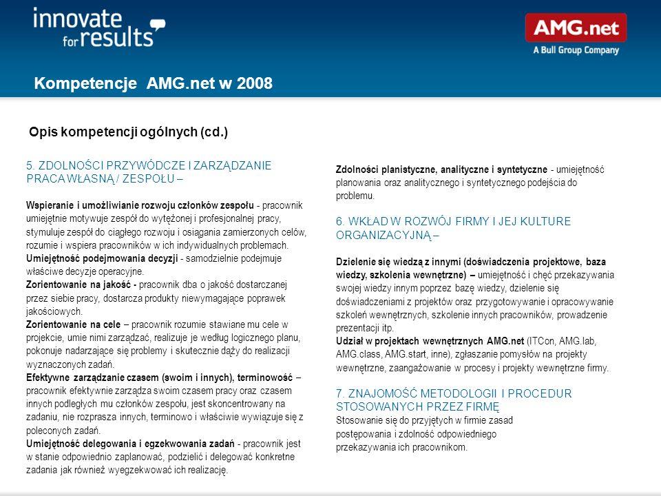Kompetencje AMG.net w 2008 Opis kompetencji ogólnych (cd.)