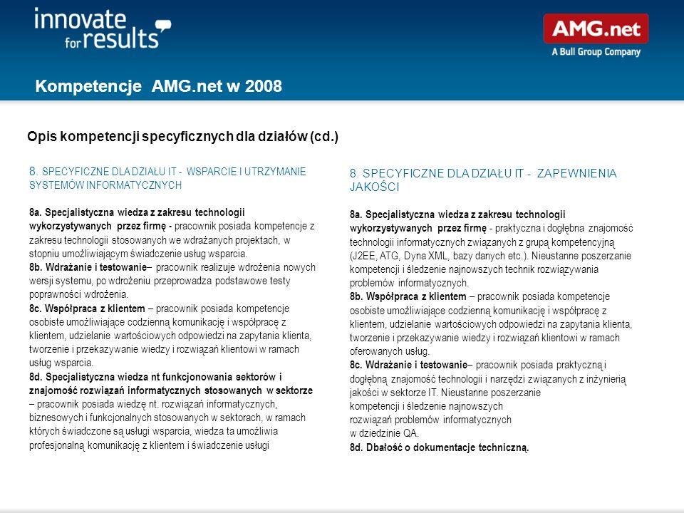 Kompetencje AMG.net w 2008 Opis kompetencji specyficznych dla działów (cd.)