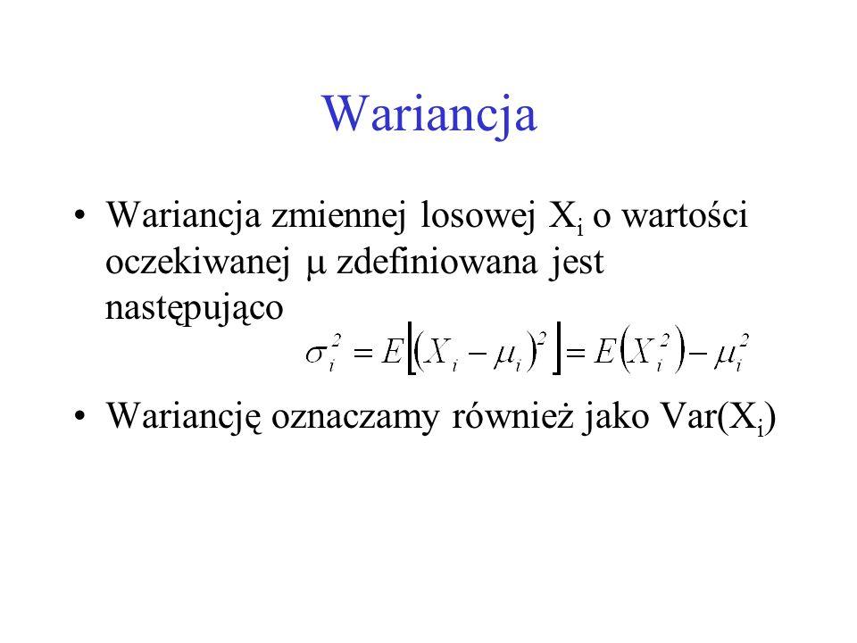Wariancja Wariancja zmiennej losowej Xi o wartości oczekiwanej  zdefiniowana jest następująco.