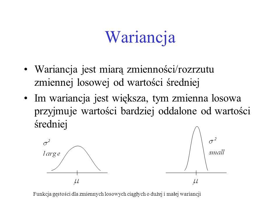 Wariancja Wariancja jest miarą zmienności/rozrzutu zmiennej losowej od wartości średniej.