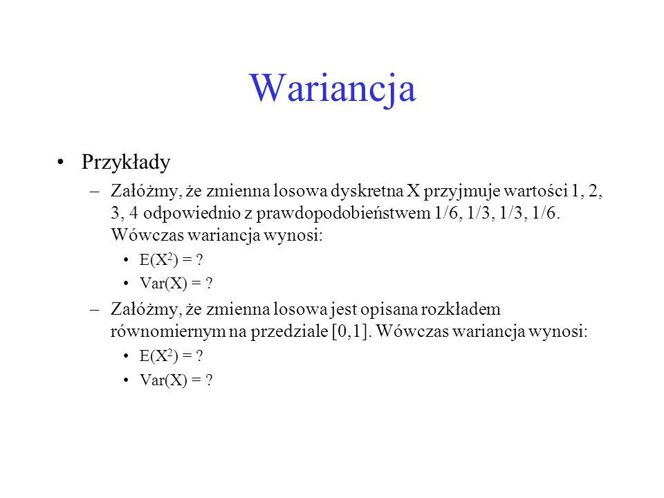 Wariancja Przykłady.
