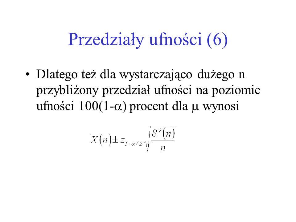 Przedziały ufności (6) Dlatego też dla wystarczająco dużego n przybliżony przedział ufności na poziomie ufności 100(1-) procent dla  wynosi.