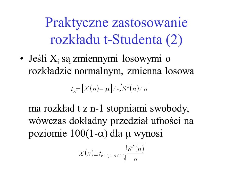 Praktyczne zastosowanie rozkładu t-Studenta (2)
